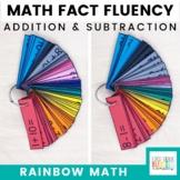 Rainbow Math: Addition and Subtraction Math Fact Fluency Flash Cards Bundle
