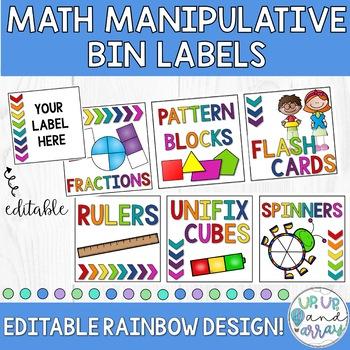 Rainbow Math Manipulative Supply Bin Labels- EDITABLE!