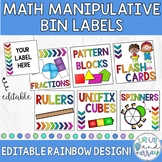 Rainbow Math Manipulative Supply Bin Labels- EDITABLE!