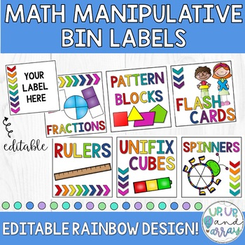 Rainbow Math Manipulative Bin Labels- EDITABLE!