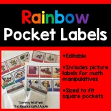 Rainbow Math Pocket Labels {EDITABLE}