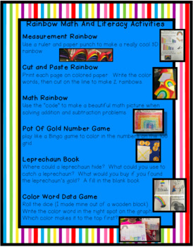 Rainbow Math and Literacy Activities