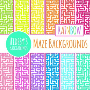 Rainbow Maze Pattern Backgrounds / Digital Papers Clip Art