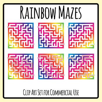 Rainbow Mazes Clip Art Set for Commercial Use