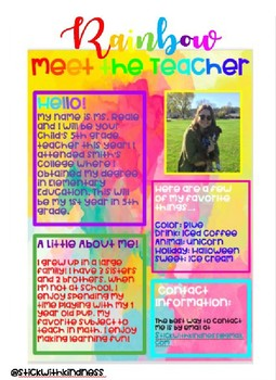 Rainbow Meet the Teacher Letter EDITABLE