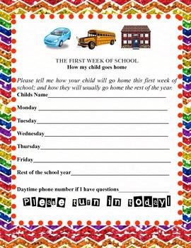 Rainbow Meet the Teacher Forms