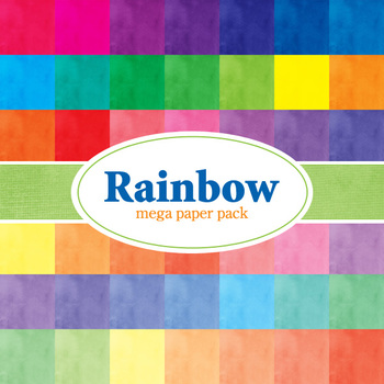 Designer's Resource: Rainbow Mega Pack # 1 - 48 - 12 x 12 Sheets Paper