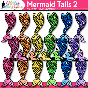 Rainbow Mermaid Clip Art {Under the Sea Graphics for Classroom Decor} 2