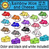 Rainbow Mice and Cheese Clip Art