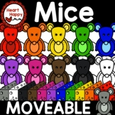 Rainbow Mice with Matching Cheese MOVEABLE Clipart-digital and print allowed