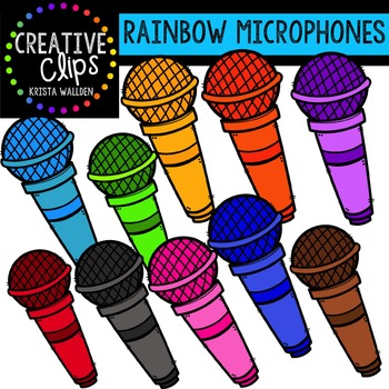Rainbow Microphones {Creative Clips Digital Clipart}