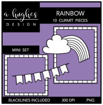 Rainbow Mini Clipart Bundle {A Hughes Design}