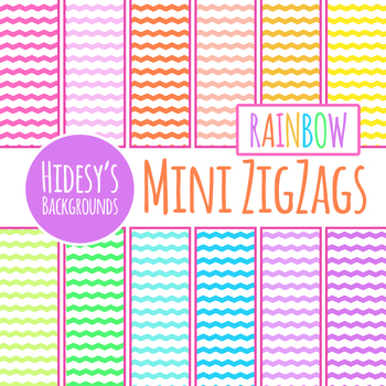 Rainbow Mini Zig Zag Backgrounds / Digital Papers Clip Art Set Commercial Use