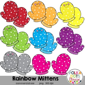 Rainbow Mittens Clipart {Graphics for Commercial Use}