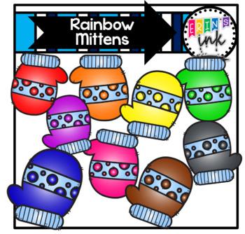 Rainbow Mittens (Erin's Ink Clipart)