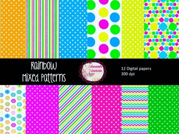 Rainbow Mixed Patterns - Digital Papers