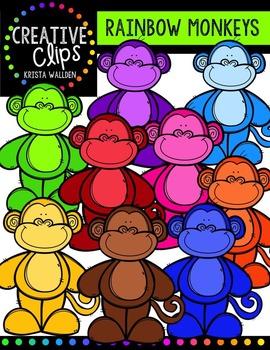 Rainbow Monkeys {Creative Clips Digital Clipart}