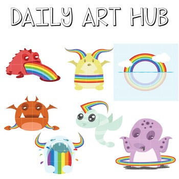 Rainbow Monsters - Great for Art Class Projects!