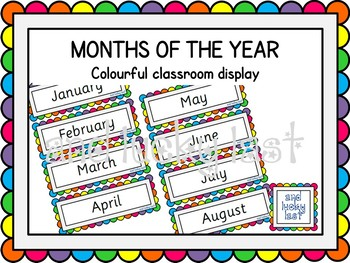 Rainbow Months of the Year
