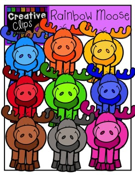 Rainbow Moose {Creative Clips Digital Clipart}