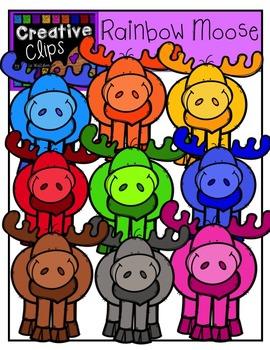 Rainbow Moose {Creative Clips Digital Clipart}