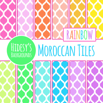 Rainbow Moroccan Tiles Backgrounds / Digital Papers Clip Art Set Commercial Use