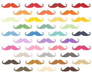 Rainbow Moustache Clipart, Rainbow, Moustache Art Set #183