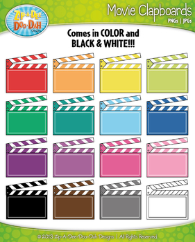 Rainbow Movie Clapboard Clip Art Set— Includes 18 Graphics!