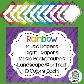 Rainbow Music Frames/Papers/Backgrounds ~ 10 Colors ~ Awards ~ Presentations