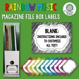 Rainbow Music Magazine File Box Labels- Customize to fit your needs!