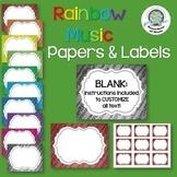 Rainbow Music Paper & Labels ~ Customize Classroom Decor ~ Awards