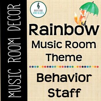Rainbow Music Room Theme - Behavior Staff, Rhythm and Glues