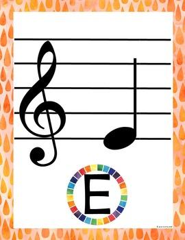 Rainbow Music Room Theme - Treble Notes, Rhythm and Glues