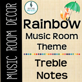 Rainbow Music Room Theme - Treble Notes, Rhythm and Glues