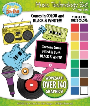 Rainbow Music Technology Clipart Set — Over 140 Graphics!
