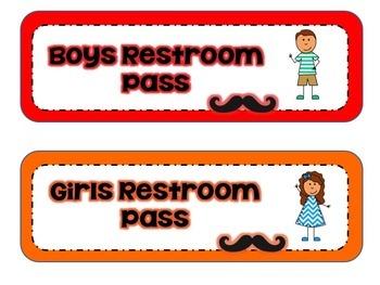 Rainbow Mustache Classroom Jobs Hall Passes
