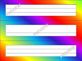 Rainbow Name Plates Desktop Name Tags Alphabet Numbers Pre-K Kindergarten 1st