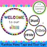 **EDITABLE** Rainbow Dot Name Tags and Door Display