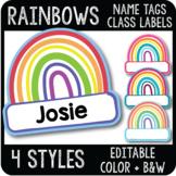 Rainbow Name Tags, St Patricks Day Class Decor, Spring Digital & Printable Label