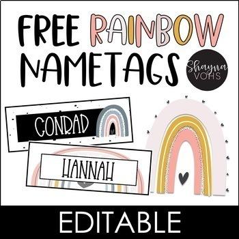 Modern Rainbow Nametags FREE