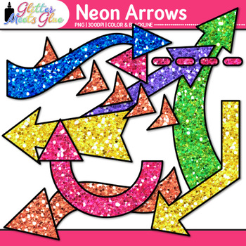 Rainbow Neon Arrows Clip Art {Glitter Pointers for Worksheets, PowerPoint}