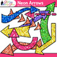Rainbow Neon Arrows Clip Art | Glitter Pointers for Worksheets & PowerPoint