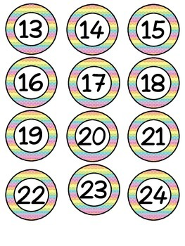 Rainbow, chalkboard lunch choices & numbers