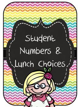 Rainbow, chalkboard editable lunch choices & numbers