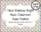 Rainbow Neon Polka Dot MUSIC Classroom Rules