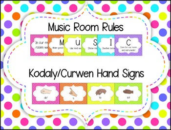Rainbow Neon Polka Dot MUSIC ROOM Decor Bundle