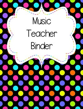 Rainbow Neon Polka Dot Music Teacher Binder Covers