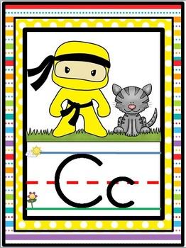 Rainbow Ninjas Theme Alphabet Line {Classroom Decor}