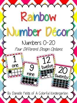 Rainbow Number Decor 0-20