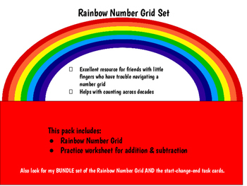 Rainbow Number Grid & Practice Problems for Addition & Sub